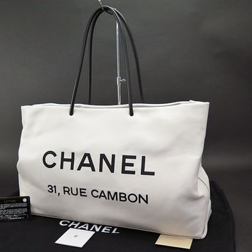 Authentic CHANEL 31 Rue Cambon White Lambskin Leather Tote Bag Purse #24219