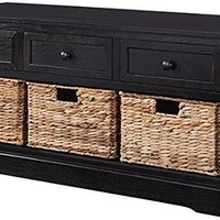 3-Drawer and  3-Basket Storage Bench