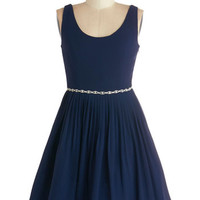 ModCloth Mid-length Tank top (2 thick straps) Fit & Flare Sage a Dance Dress in Navy