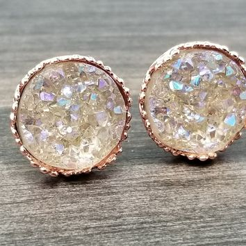 Champagne faux druzy in Crown stud earrings (you pick setting tone)