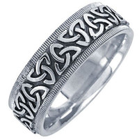 14K Celtic Trinity Knot White Gold Wedding Ring Band, For the Bride and Groom