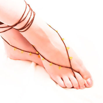 Chocolate lemon barefoot sandals Beaded crochet by Mashacrochet