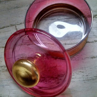 Powder Jar Vanity Home Decor Lidded Candy Dish Cranberry Glass Gold Trim Gift Wedding Shower Housewarming