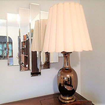 Vintage Table Lamp, Ceramic Brass glaze, original vintage shade. Please read description, this one is Gorgeous