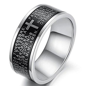 8.5mm Titanium Stainless Steel Vintage Black Ring Spanish Bible Lords Prayer High Polish Cross Band