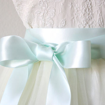 Satin Ribbon Belt - Robins Egg Blue, Light Mint Blue, 1.5 Inches Wide