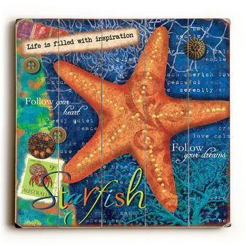 Starfish by Artist Victoria Hutto Wood Sign