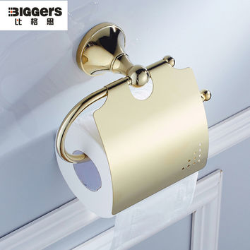 Free shipping Biggers bathroom sanitary gold plated finish bathroom accessories copper toilet paper holder with cover 7905g
