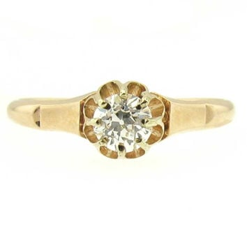Edwardian VS2 Super Clean Diamond Ring, Old European Cut Diamond in Rose Gold Engagement Ring