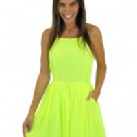 Neon Lime Halter Dress