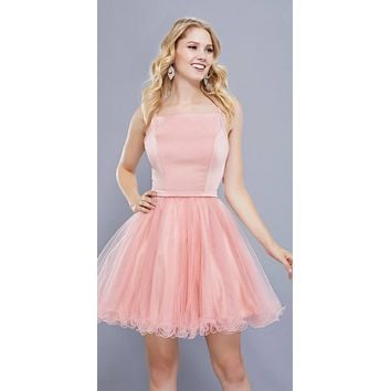 Straight Neck Short Poofy Homecoming Dress Spaghetti Strap Rose