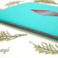 Geometric Teal Notebook  * Stitched Geometry * Teal *  Geometric Journal * Planner * Graphic Design Journal * Architect Gift * Turquoise