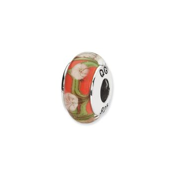 Red, White Floral Hand-Blown Glass Bead & Sterling Silver Charm, 13mm
