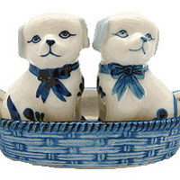 Delft Blue Salt and Pepper Shakers: Dogs/Basket