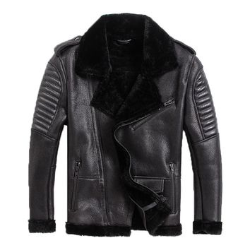 100% Sheepskin,motor wool Shearling,man's warm leather jacket,men's fur winter coat.plus size black jackets.