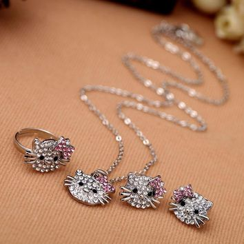 Crystal Rhinestone Hello Kitty Children Fashion Jewelry