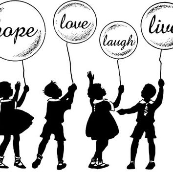 children with inspiration balloons clip art silhouette png digital image printable graphics digi stamp for t shirts totes cards
