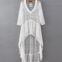 Sheer Lace High-Low Ruffled Beach Cover-Up