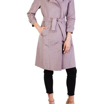 Prada Women's Silk Polyester Blend Double Breasted Trench Coat Purple (Size: 40, Color: Purple)