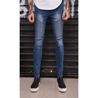 Distressed Ripped holes biker Patchwork Pleated slim fit jeans