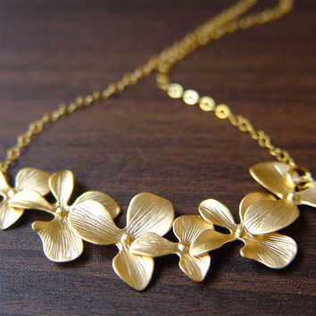 Orchid Flower Gold Necklace
