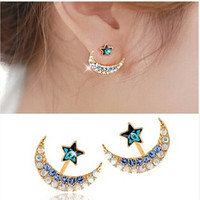 Fashion Moon Star Earrings Women 18k Yellow Gold Filled Moon Star Shape Crystal Rhinestone Stud Earrings = 5617852097
