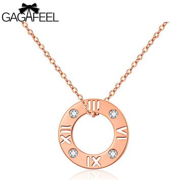 GAGAFEEL Clavicle Necklace For Women With Round Roman Numerals CZ Zircon Rose Gold Color Pendants Necklaces Gift For Wedding