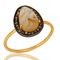 14K Yellow Gold Golden Rutilated Quartz And Pave Diamond Stackable Ring