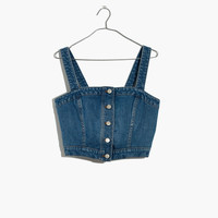 Denim Button-Front Crop Top : shopmadewell tops & blouses | Madewell