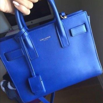 ESBDC0 Yves Saint Laurent Blue Calfskin Leather Sac de Jour Tote Bag