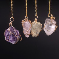 Handmade Wire Wrapped Amethyst Necklace, Multiple Colors