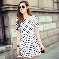 Polka Dot Short Sleeve Shirtwaist A-Line Mini Skater Dress