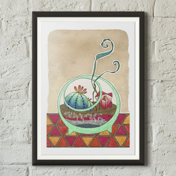 Cute terrarium fine art print illustration, Plants, Botanical art, Bowl, Coffee stains, Succulents, Watercolor, Sharpie, Vivid colors
