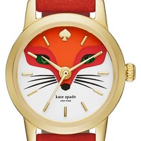 Women's kate spade new york 'metro - fox' leather strap watch, 20mm - Red/ Gold