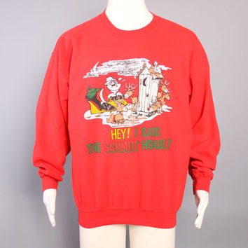 80s Ugly CHRISTMAS SWEATER / Angry Santa Christmas Sweatshirt