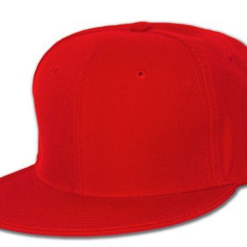 Blank Flat Bill Baseball Hat (More Colors Available), 7 1/4-Red