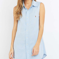Urban Renewal Vintage Re-Made Sky Blue Oxford Shirt Dress - Urban Outfitters