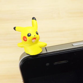 35%OFF Cute Pokemon 3D Happy Pikachu Dust Plug 3.5mm Cell Phone Plug iPhone 4 4S 5 5S Plug Samsung Charm Headphone Jack Ear Cap
