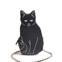 Black Cat Graphic Purse with Gold Chain Strap