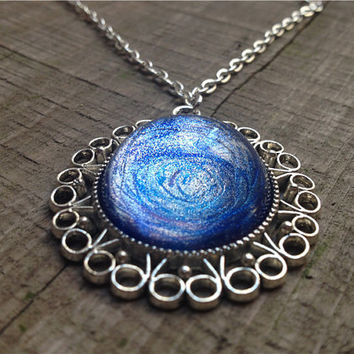 Galaxy aquamarine necklace-Unique Hand painted blue Nebula necklace-Silver necklace-Starry Stone -Valentine's Day Gift-Birthday Gift