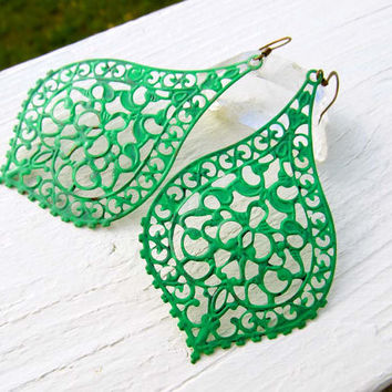 Big Jade green Bohemian earrings