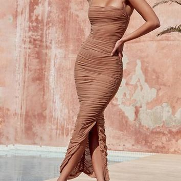 Beige Ruched Detail Chic Women Mesh Bodycon Cami Maxi Dress