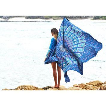 2016 Indian Mandala Tapestry Hippie Peacock Printed Wall Hanging Rectangle Boho Bohemian Beach Towel Mat Home Decor