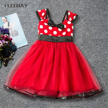 Polka Pot Baby Girl Minnie Dress Bow Backless Kids Cartoon Clothes Tutu Party 1 Year Birthday Dress Fancy Mickey Cosplay Costume