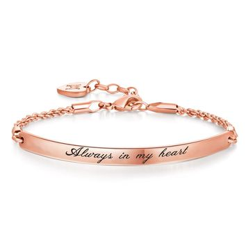 "Annamate Engraved Message ""Always in my heart"" Inspirational Quote Bar Bracelet, Women Jewelry"