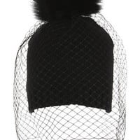 Fur Pom-Pom Winter Veil Pull-On Hat