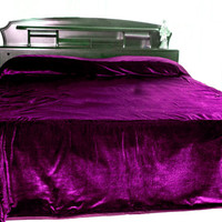 "Luxury purple bedcover - Couture bed linen in luxe velvet - Duvet Cover -King Size bedspread 110"" X 96""- purple bedspread"