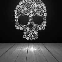 Stylized Skull of Flowers  Vinyl Wall Art by VinylWallAccents