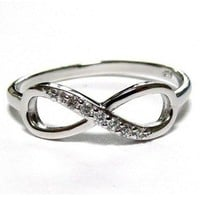 Studded Silver Infinity Ring