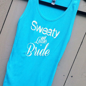Sweaty Lil' Bride Ribbed Tank. Turquoise. SMALL
